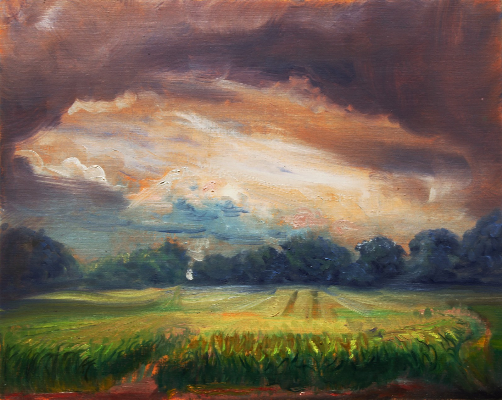 Miller Lopez Storm over a Cornfield